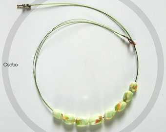 Dafna - Polymer Clay Green Necklace On Wire OOAK
