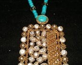 Rectangle turquoise pendant with a long string, crystals and beads, gift for her