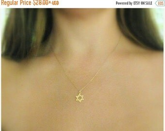 Sale - Star of david Necklace - Jewish star necklace - Gold jewish star - Magen david necklace -  Gold star of david - Jewish jewelry