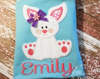 Fuzzy Easter Bunny Shirt with Name & Bow- Custom monogram - Infants to Youth