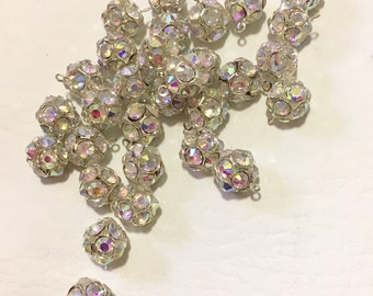 6 Silver Rhinestone Beads with Czech Crystals Basketball Wives
