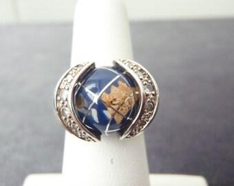 Sterling Silver Interchangeable Sphere Cz Ring Sz.7 1/2 R126
