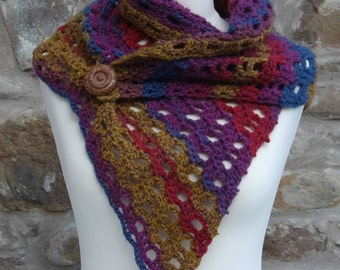 Crocheted Scarf/Cowl/Shawl in Rainbow Colour Wool Mix