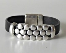Husband gift, leather jewelry, bracelet homme, wife gift, bracelet for men, silver bracelets