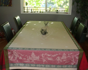 "Rectangular Cotton  Jacquard  Tablecloth .96'' long by 62'' wide  ."" skieurs in the French alps ''"