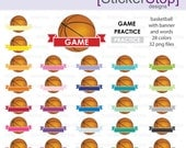 Basketball Game and Practice Reminder Clipart 28 colors, PNG Digital Clipart - Instant download - sports, soccer ball, football, practice