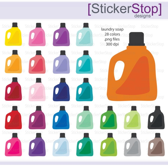 Laundry Detergent Clipart laundry soap icon digital clipart in rainbow colors - instant