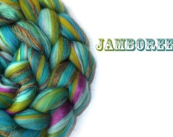 Blended roving - Blended tops - Custom Blend - Turquoise - Pink - 23 micron Merino - Silk - Firestar - 100g - 3.5oz - JAMBOREE