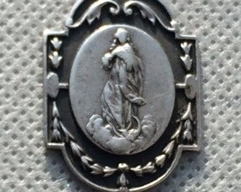 Antique Art Nouveau silver religious blessed Mary medal