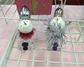 Recycled repurposed salt and pepper shakers snowman trio
