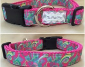 "Handmade Lilly Pulitzer Pink Swirls 1"" Adjustable Dog Collar"