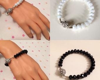 New !-Very Shiny White/Black Crystal Stylish Bracelet,Swarovsky Jewely,Trendy Jewelry Bright,Bridal Gift,Bridesmaid Jewelry,Wedding