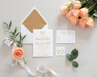 Classic Wedding Invitation, Traditional Wedding Invitation, Monogram Invitation, Wedding Invitations, Elegant Wedding Invitation