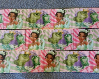 Tiana ribbon. Princess Tiana ribbon. Princess and the Frog ribbon. Frog ribbon. Prince Naveen ribbon. Disney inspired ribbon. Wholesale ribb
