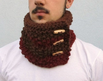 HandKnit Mens Scarf Cowl, Mens Cowl Knit Cowl Scarf Neckwarmer, Mens Chunky Scarf Buttoned Winter Wrap Scarf Brown Burgundy