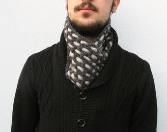 Man NECK WARMER, Men neckwarmer, Men neck Wrap, Scarflette, Short Scarf, Reversible scarf, Crochet Scarf, Charcoal Grey