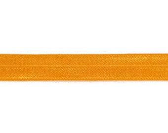 "Tangerine FOE - Fold Over Elastic - 5/8"" Foe Headbands - Hair Ties - Shiny Satin Elastic"