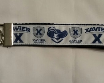 Handcrafted NCAA Xavier Musketeers Key Chain Wristlet