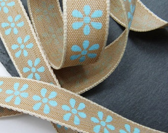 Natural Look Blue Flower Pattern Rustic Print Ribbon 16mm