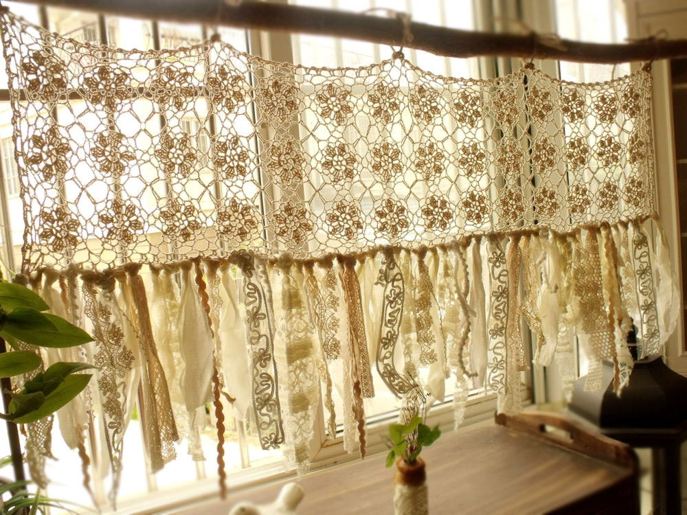 Vintage Hippie Valance Boho Handmade Crochet Curtain Window