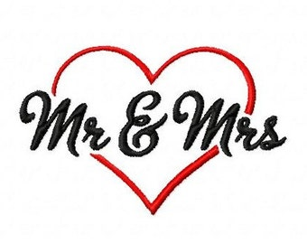 Mr and Mrs heart wedding 3 inch machine embroidery design instant download