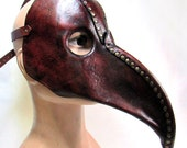 Plague Doctor Mask, aged, antiqued and dyed veg tanned leather in dark cherry brown with brass hardware and rivets steampunk XL cosplay