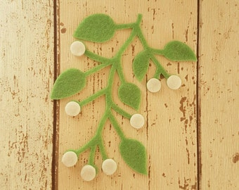 Felt Mistletoe sprigs with berries, die cut for craft and embellishment, applique, card making, bunting, cushion, Christmas Craft