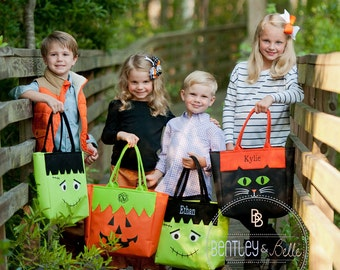 Monogram Trick Or Treat Bag- Monogram Halloween Tote Bag - Halloween Candy Bag - Personalized Halloween Treat Bucket