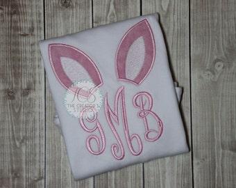 Bunny Ears Monogram Shirt for Girls - Easter Shirt - Easter Bunny - Girls Easter Shirt - Girls Monogramed Bunny Ears - Easter Bunny Shirt
