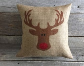 Burlap Rudolph Pillow Cover, Rudolph Pillow, burlap pillow, Christmas Pillow, red glitter pillow, stenciled pillow