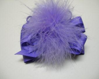 Princess Hair Bow Delphinium Orchid Purple Marabou Over the Top Boutique