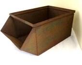 Vintage Large Industrial Steel Parts Bin Stackable Metal Storage Box with Handle