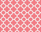 Riley Blake Quatrefoil Fabric, Coral and White, Cotton Sewing Material, Quilting, Clothing and Craft, Fat Quarter, Half Yard, By he Yard