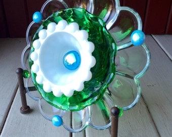 "Repurposed Glass Flower, Sun Catcher Glass Garden Art - ""Jonah"" Green Blue White Glass Crystal Flower, Made from Glass Plates"
