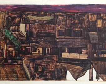 """Schiele Egon 12, Lithograph, """"House in Krumau"""""""
