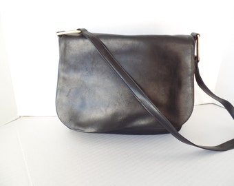 90s DKNY Purse, Black Nylon and Leather Shoulder Bag, Saddle Bag, Designer Bag