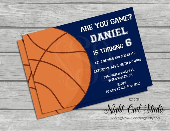 Basketball Invitation Birthday Invite