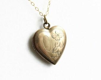 Vintage Gold Filled Sweetheart Locket Necklace, Heart Locket, Love Token, Circa 1940's
