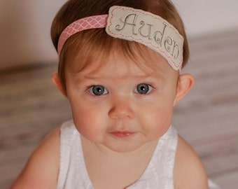 Custom Name Embroidered Headband, Vinyl Headband, Elastic Headband, Name, Custom, Embroidered, Personalized, Girls, Headband, Hair Piece
