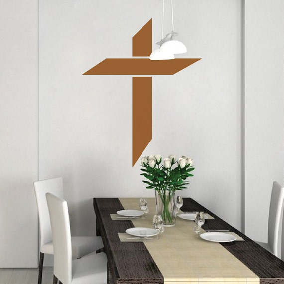 cross wall decal christian wall decal religious wall art. Black Bedroom Furniture Sets. Home Design Ideas