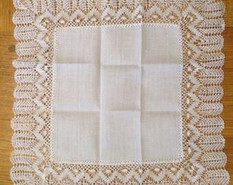 Handmade Vintage Belgian Lace Handkerchief