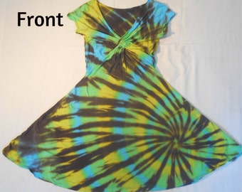 Tie Dye Twisted Front Dress Size Medium