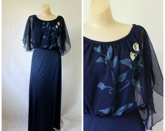 Sale 1970's Dress / Maxi Dress / Vintage Dress / Vintage Maxi Dress / Cocktail Maxi Dress / Bohemian Blue S/M