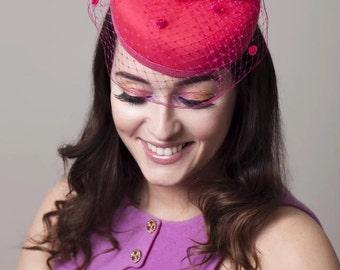 Pillbox Birdcage Veiled Hat