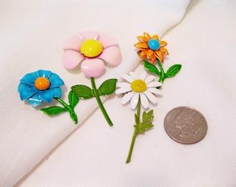 Lot of 4 Small Vintage Metal Flowers