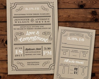 "Custom ""Rustic Typography"" Wedding Invitations"