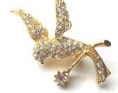 Vintage NAPIER Rhinestone Bird Brooch Pin, 1960s Estate, Signed, Gold-Tone Clear  Mid-Century Modern Hummingbird Figural