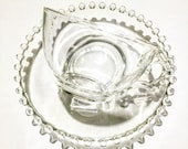 Vintage Tea Cup & Saucer /  Glass  Teacup ~ Candlewick by Imperial