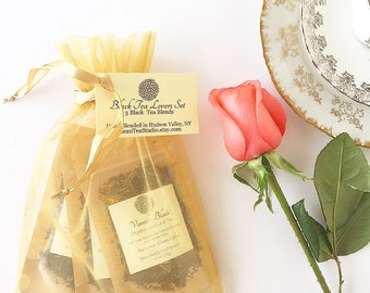 Tea Lovers Gift / Organic Loose Leaf Tea Sampler / Bridesmaid Gift / Holiday Gift / 3 Tea Pouches  in Gold Organza Bag