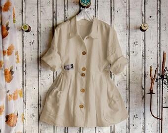 Plus sizes- US 18 - 34, UK 20 - 36 , Linen dress/blouse, European Layering Look ,sand/nature